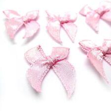 """(5pcs) Pink Satin Ribbon Bows 1"""" - Wedding/Trim/Sewing/Craft"""