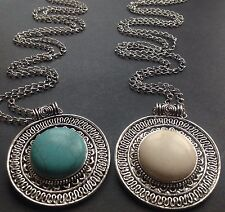 Long  Silver Necklace With a Large Tibetan Turquoise  Cream Pendant
