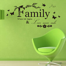 Black Family Words Wall Sticker Removable Art Mural DIY Decal Home Decor 60*19cm
