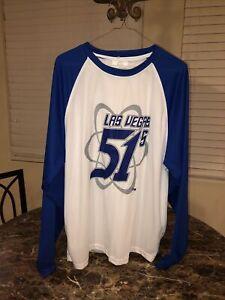 white / blue Las Vegas 51's long-sleeve SGA shirt - adult extra-large / XL