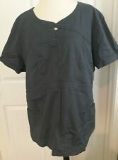 Women's Heart Soul Scrub Top Plus Size 2X 2Xl Xxl Solid Gray Two Front Pockets