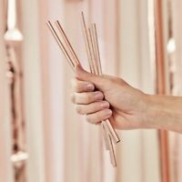 Rose Gold Stainless Steel Straws Party Birthday Celebration Hen Bride Reusable