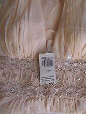 BCBG Paris sz4 Blush Rose Floaty Silk Halter Gown Long Dress Scalloped Lace