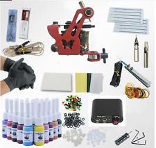 Complete Tattoo Kit needles 2 Machine Gun Power Supply 20 Color Ink Tip UK Plug