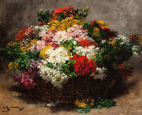 Georges Jeannin Summer Blooms Fine Art Print on Canvas Flowers Painting Small
