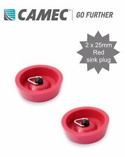 2 x Camec Caravan 25mm Waste Sink Outlet Plug - Red Rubber with Chain Hook