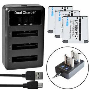 3X Li-50B Battery + USB Charger for OLYMPUS Tough 6000 6010 8000 8010 TG-610
