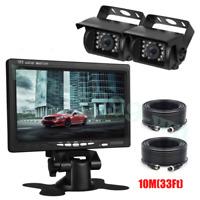 "New 7""Quad Monitor Split Screen Reversing 2 Camera IR CCD 4PIN Kit Truck 24V/12V"