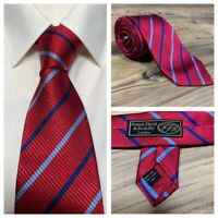Frank Theak Roskilly London 100% Pure Silk Mens Red Blue Striped Neck Tie - NEW