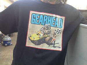 Gearhead Brand Mens' T Shirt Zinger Iron On Hot Rods Retro Checkered Flags Cars