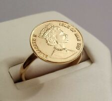 Beautiful Vintage queen 14K Gold filled old coin adjustable ring Israel made