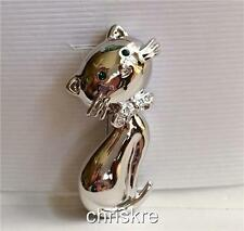 Silver Plated Kitty Cat Pin Brooch Crystal Bow Feline Fashionista Kat Rescue USA