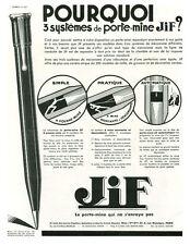 Publicité ancienne porte mine Jif 3 systèmes 1933 Puybelle issue de magazine