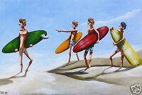 ART  BEACH SURF PAINTING  PRINT ANDY BAKER  COA  australia abstract original