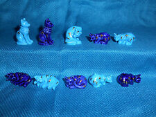 BLUE CATS Set of 10 Mini Figurines FRENCH Porcelain Epiphany FEVES Tiny Figures