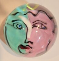 Vintage Glass Paperweight  Kosta Boda Face Green Purple  Signed   CK0497