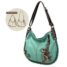 New Chala CONVERTIBLE Hobo Large Tote Bag Teal WIENER DOG Pleather gift Green