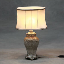 Champagne Crushed Mosaic Glass Table Lamp Champagne Oval Silk Shade 62cm High