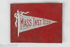ANTIQUE 1910 MASS INST TECH College Leather Patch Pennant Tobacco Premium