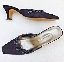 Ladies beaded evening shoes BLACK Size 3.5 Ann Marino Leather soles Open backs