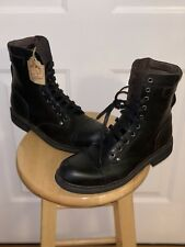 Diesel Men's Cassidy Black Leather Combat Boots Distressed Size US 10 EU 43