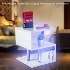 White High Gloss Side or Lamp Table Night Glow LED Lights Cylindrical Leg