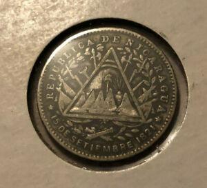 1887 Republica De Nicaragua 10 Cents Dime Silver Coin *Great Detail*