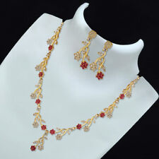 Indian Pakistani Bollywood American Diamond Necklace Red Gold Tone Party Wear