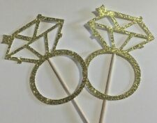 Cup cake Toppers Rings Hen Party, Engagement, Bridal Shower,Glitter Pack of 12
