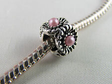 SP SPACER CHARM WITH PINK FAUX PEARL FOR EUROPEAN STYLE CHARM BRACELETS (SP 102)