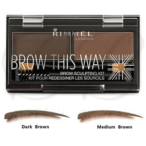 RIMMEL London Brow This Way Eyebrow Powder Sculpting Kit - DARK & MEDIUM BROWN