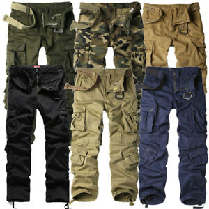 Mens NEW Cargo Pants Heavy Duty Military Colours Straight Leg Sizes 30 to 46