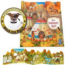 Mein Indianerdorf Panorama Aufklappbuch Leporello Wimmelbuch; Indianer-Dorfleben