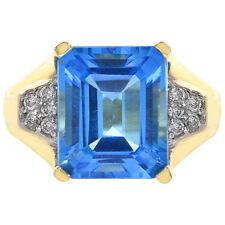 4.00 Carat Blue Topaz & 0.20 Carat Diamond Ring 14K Yellow Gold