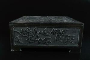L834: Japanese Stone Person Flower sculpture CONTAINER Accessories Case Box