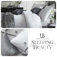Laurence Llewelyn-Bowen SAVOY STRIPE White & Grey Embroidered 200TC Duvet Set