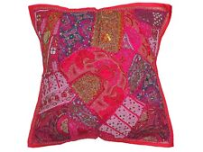 "Magenta Handmade Tapestry Floor Pillow Cover Ethnic Indian Large Euro Sham 26"""