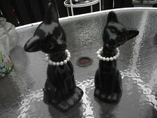 """TWO VINTAGE PORCELAIN CATS WITH PEARL NECKLACES, ONE BLACK 10 1/2"""", BLUE 8 1/2"""""""