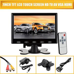 12/24V 7 inch HD Digital LCD Monitor Touch Screen 6W AV/VGA/HDMI Remote Control