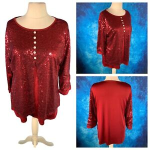 Ladies Red Top Size 4XL Sequinned Stretchy 3/4 Sleeve Button Front Party Cruise
