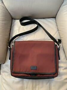 Coach Messenger /Computer Bag Burgundy Canvas With Black Leather Trim