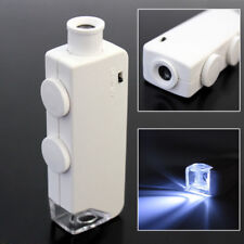 Mini 160X - 200X Zoom Lighted Microscope Jewelers Loupe Magnifying Glass White