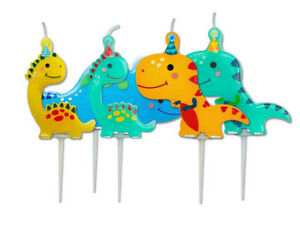 PACK OF 5 FANTASTIC COLOURFUL DINOSAUR PICK CANDLES