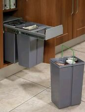 30L Pull Out Kitchen Waste Bin for 300mm Cupboards with Hinged Doors 3 x 10L