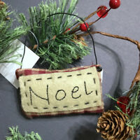 Noel Christmas Ornament Embroidered Plush Country Rustic Tree Gingham Holiday