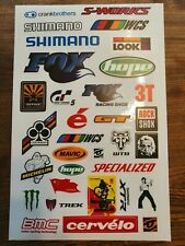 MOUNTAIN BIKE STICKER SHEET A4 GRAPHICS DECALS HOPE FOX SHIMANO RACEFACE COLNAGO