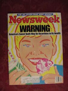 NEWSWEEK Magazine August 26 1985 America's Sweet Tooth Japan Air Lines Flight 12