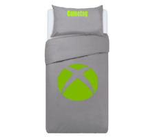 Xbox Themed Console Duvet Cover & Pillows Bedding Set Personalised GREY