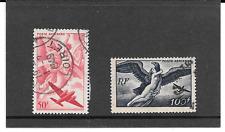 FRANCE 1946-47. SERIE MYTHOLOGIQUE.LOT DE 2 TIMBRE GOMME CACHET ROND. PA.N°17/18