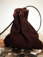 Medieval/Larp/Money Coin/Gaming/Dice BROWN SUEDE LEATHER DRAWSTRING POUCH/BAG